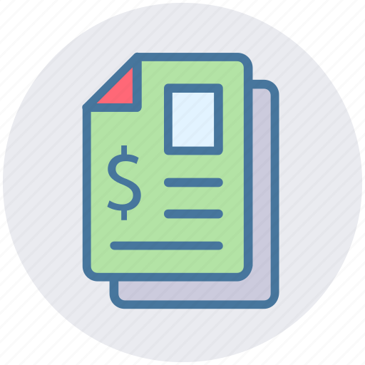 banking, contract, documents, dollar, files, papers, sheets icon