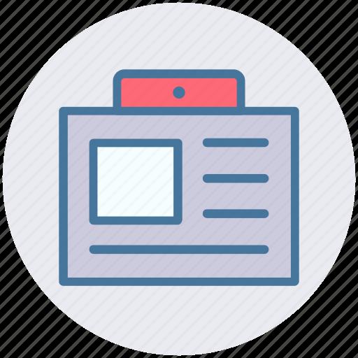 card, document, id card, identify card, info, user card icon
