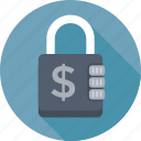 dollar, lock, locker, money security, safe banking icon