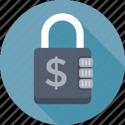 dollar, lock, locker, money security, safe banking icon