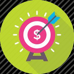 bullseye, business target, dartboard, dollar, target icon