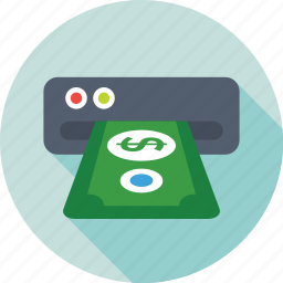 atm, banking, cash withdrawal, transaction, withdrawal slot icon