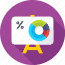 donut graph, easel, percentage, presentation, presentation board icon