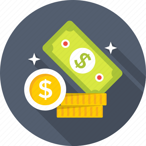 banknotes, cash, coins, dollar, investment icon