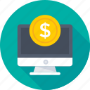 banking, coin, e banking, monitor, online payment icon