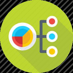 business, finance, hierarchy, pie, pie graph icon