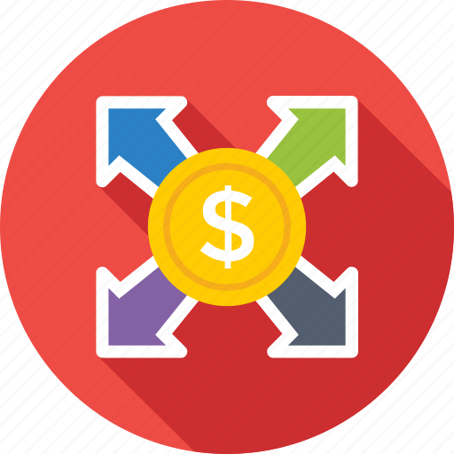 affiliate, arrows, banking, dollar, financial icon