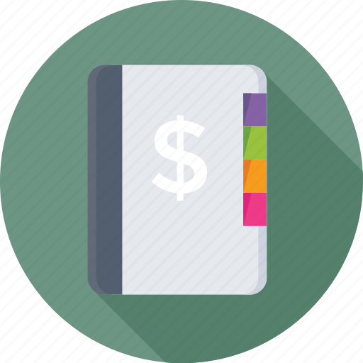 business dairy, dollar, notebook, notepad, scratch pad icon