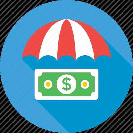 dollar, finance, insurance, safe banking, umbrella icon