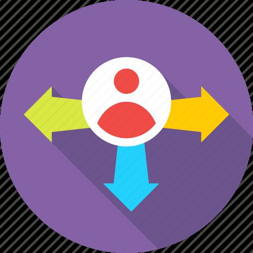 affiliate, arrows, career, decision, pr icon