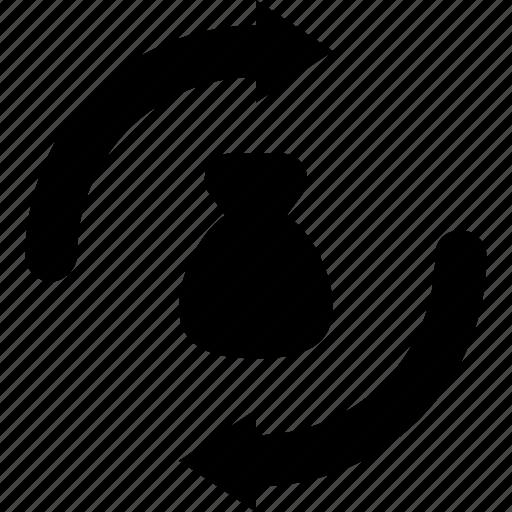 arrows, business, money exchange, sack, trading icon
