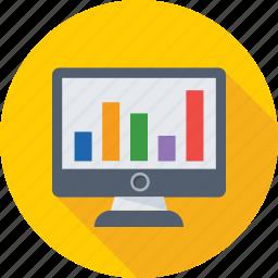 diagram, infographics, monitor, online analytics, online graphs icon