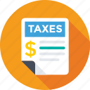 dollar, report, revenue paper, tax, tax calculator icon