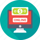 banking, dollar, earning, monitor, online earning icon