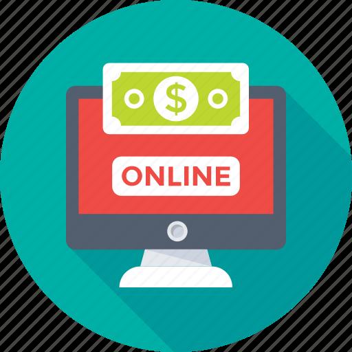 banking, dollar, earning, monitor, online earning icon