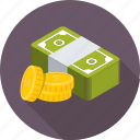 banknote, cash, coins, money stack, paper money icon