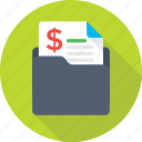 business folder, document, dollar, finance paper, folder icon