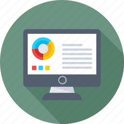 article, infographics, monitor, online graph, pie graph icon