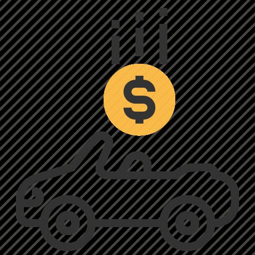 auto, automobile, car, cash, loan, money, transport icon