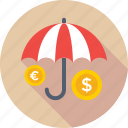 dollar, finance, insurance, safe banking, umbrella icon