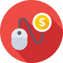 cost per click, dollar, mouse, pay per click, ppc icon