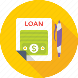 agreement, loan contract, loan papers, paper, pen icon