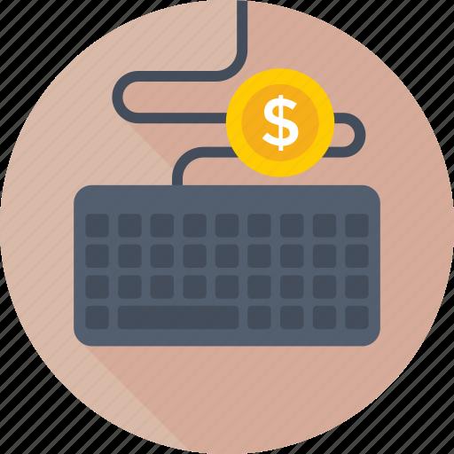 dollar, earning, hardware, keyboard, typing icon