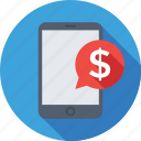 banking app, dollar, mobile, sms, sms banking icon