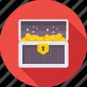 box, chest, gold trunk, treasure, treasure box, trunk icon