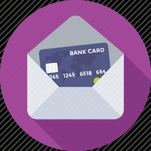 banking, credit card, envelop, finance, plastic money icon