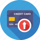 arrow, card, credit card, up, up arrow icon