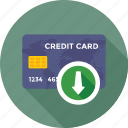 arrow, credit card, debit card, down, down arrow icon
