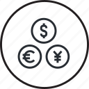 banking, currency, finance, line, market, money, payment icon
