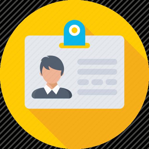 employee card, id card, identification, identity, student card icon