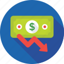 business loss, dollar, loss, money, paper money icon
