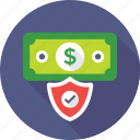 dollar, money protection, paper money, protection, shield icon