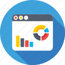 bar chart, bar graph, infographics, online graph, pie graph icon