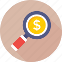 commerce, dollar, finance, magnifier, search money