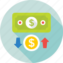 arrows, currency, dollar value, exchange, paper money icon