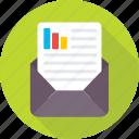 bar chart, business report, envelope, graph report, report