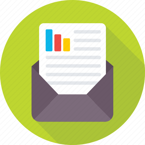 bar chart, business report, envelope, graph report, report icon