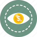 analysis, business view, dollar, view, vision icon