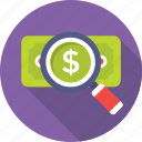 banknote, finance, magnifier, paper money, search money icon