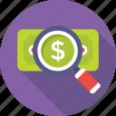 magnifier, search money, finance, banknote, paper money