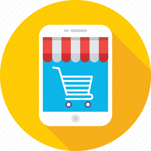 m commerce, mobile, online shopping, shopping app, trolley icon