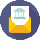 banking, building, envelope, property paper, real estate icon