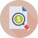 dollar, finance, magnifier, report, search money icon