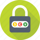 currency lock, dollar, euro, forex, forex currency, lock, padlock, trading, yen icon