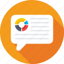 chat balloon, chat bubbles, conversation, graph bubble, pie graph icon