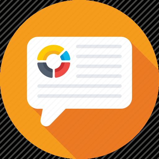 chat balloon, chat bubbles, conversation, graph bubble, pie graph icon